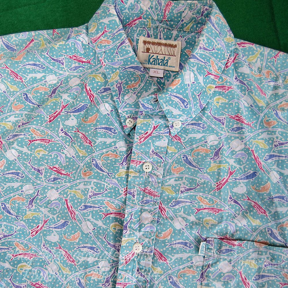 6ac2638d3 Mens Kahala Hawaiian Shirt Sz XL HRH Hawaii Reverse Print Fishing Rod Fish  Print #Kahala #Hawaiian