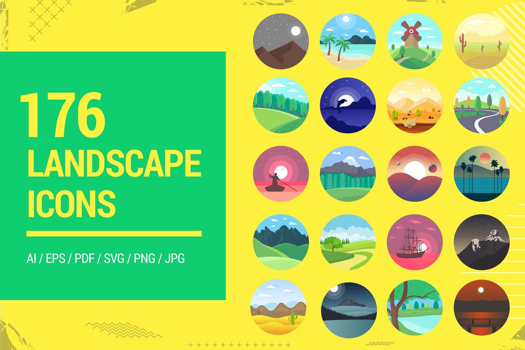 176 Flat Rounded Landscape Icons Flat Rounded Icons Landscape