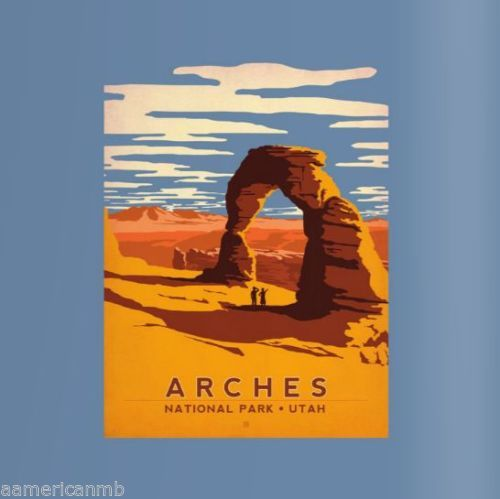 Mountain Life T Shirt Hiking Arches National Park Utah Size L Blue Sunset Usa Vintage National Park Posters National Park Posters National Parks