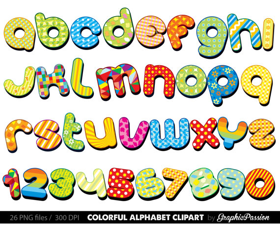 Colorful Alphabet Clipart Color Alphabet Digital Alphabet Letters