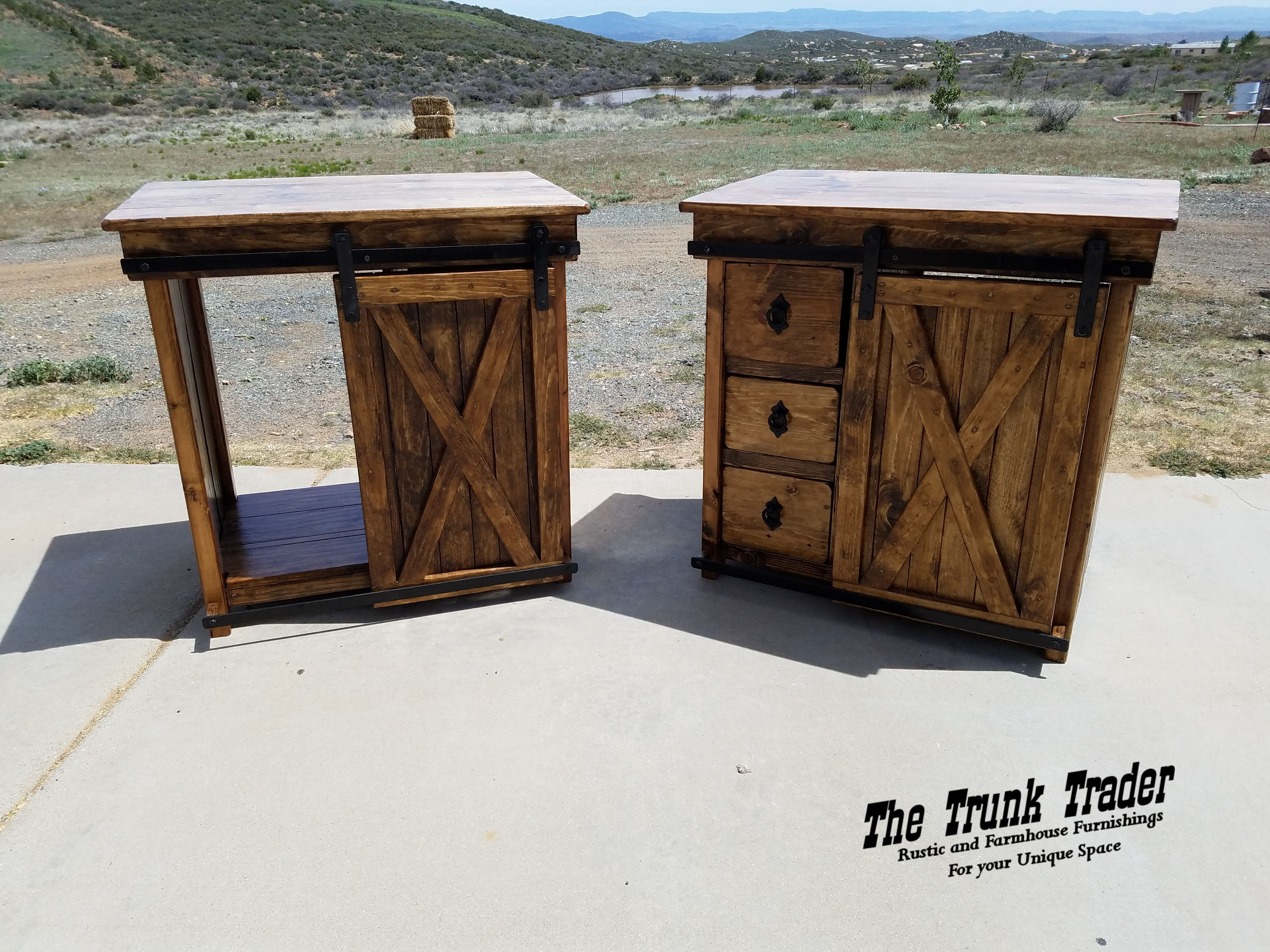 Twin Sliding Barn Door Bath Vanities With 3 Drawers On One Side And Open On The Opposite Rustic Black Hard Farmhouse Style Furniture Rustic Black Vessel Sinks [ 3024 x 4032 Pixel ]