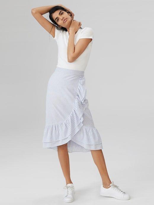 b996a24eca Ruffle Wrap Midi Skirt