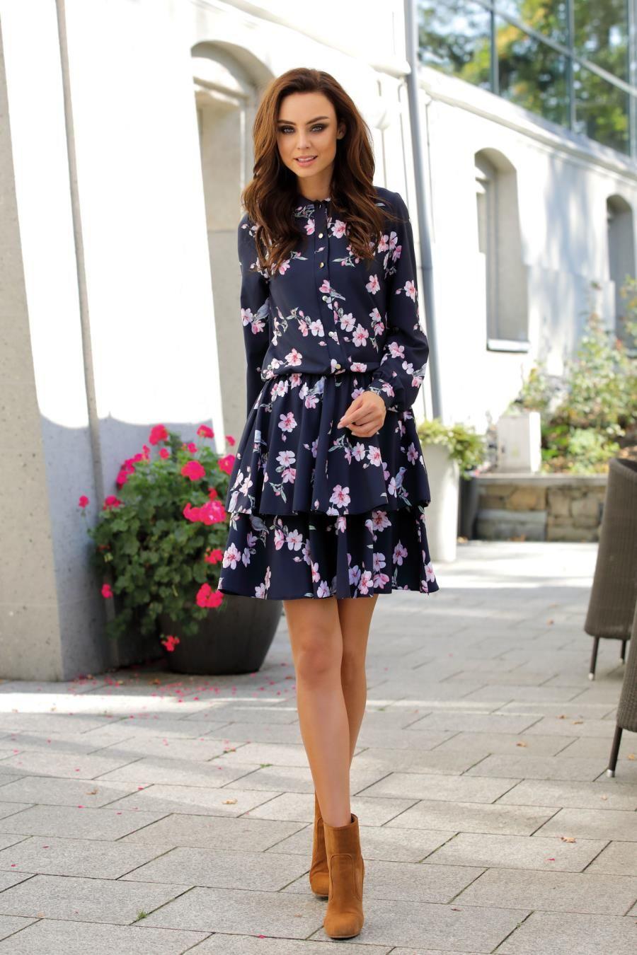 0ff58f4722 Koszulowa Sukienka z Kołnierzykiem Granatowa w Kwiatki LEL281 ...