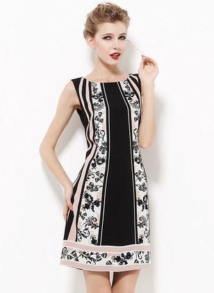 Linen Floral Sleeveless Above Knee Elegant Dresses (1012348) @ floryday.com