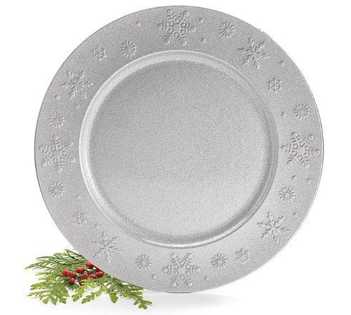 Silver Glitter Plastic Plate Charger with Raised Snowflake Design ...