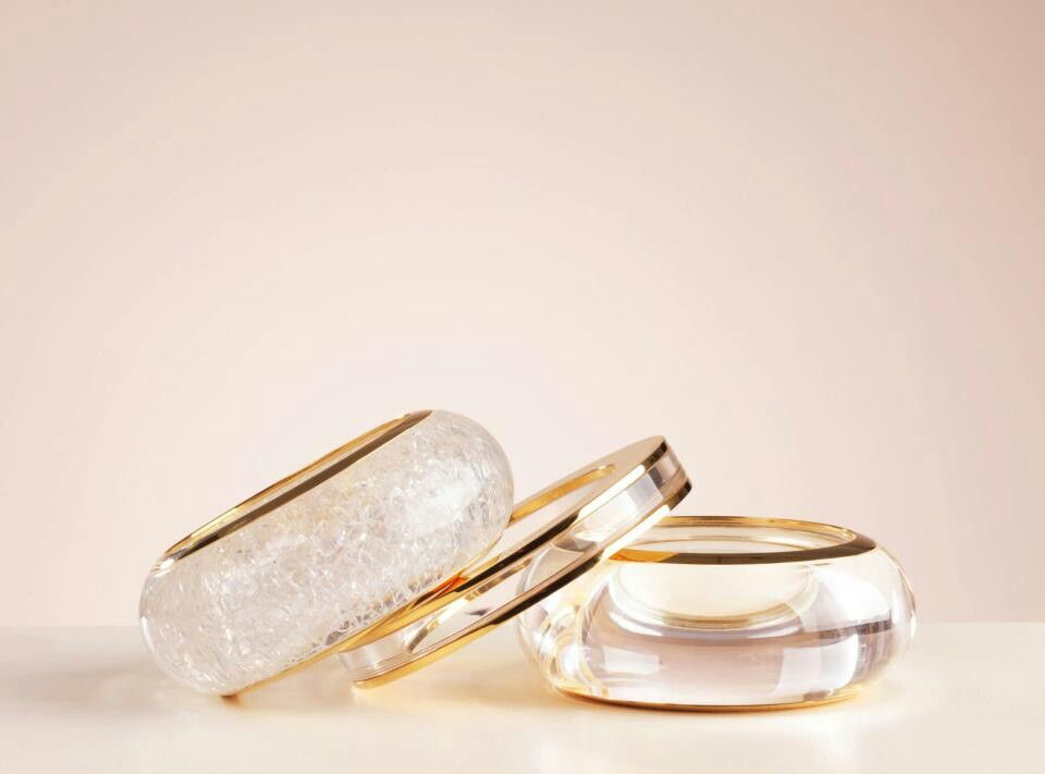 Chloe bangles in cracked and smooth transparent resin and gold brass