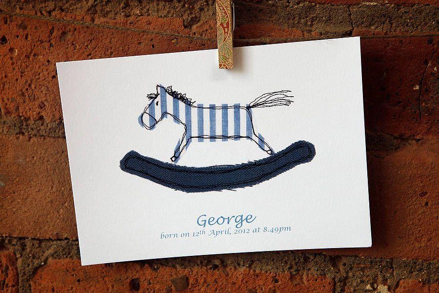 Personalised Pink Or Blue Rocking Horse Print