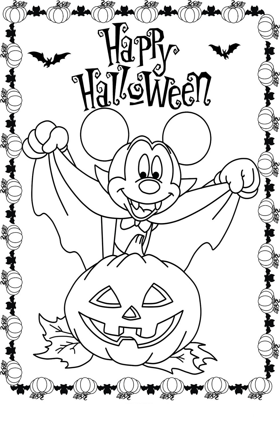 Mickey Mouse Jack O Lantern Halloween Coloring Pages