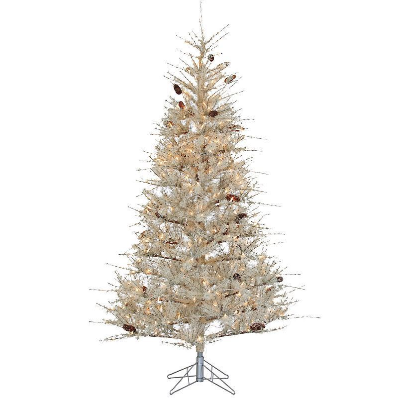 Frosted Slim Christmas Tree: Sterling 7' Sage Frosted Hard Needle Artificial Christmas