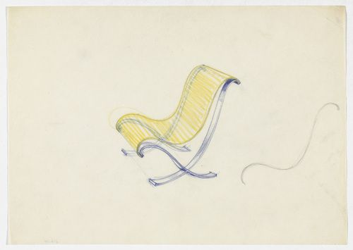 Lounge Chair without Arms. Frame. Ludwig Mies van der Rohe (American, born Germany. 1886–1969) 1934. Pencil and colored pencil on paper, 8 5/16 x 11 5/8 (21.1 x 29.5 cm). Mies van der Rohe Archive, gift of the architect. © 2013 The Museum of Modern Art, New York