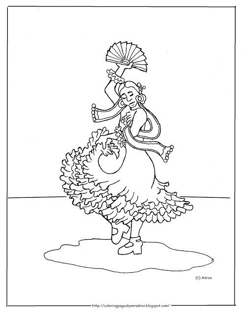Coloring Pages for Kids by Mr. Adron: Printable Spanish Flamenco ...