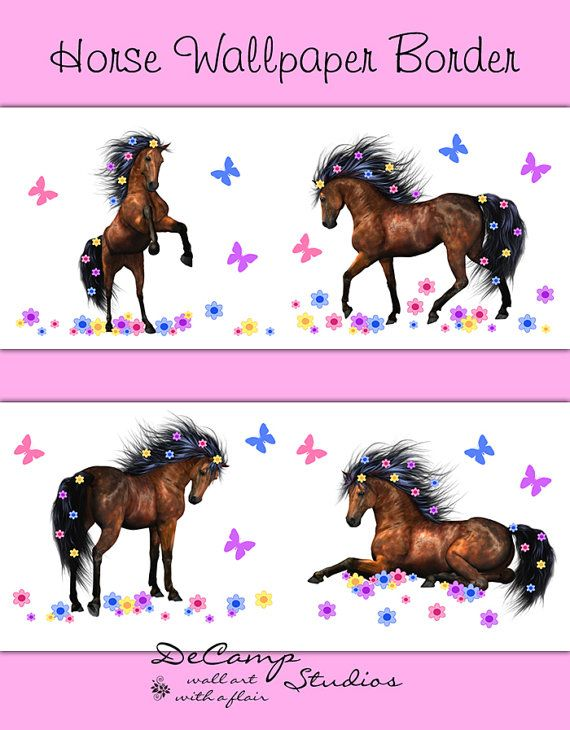 Wild Horse Wallpaper Border Wall Decals for a girl\'s pony bedroom ...