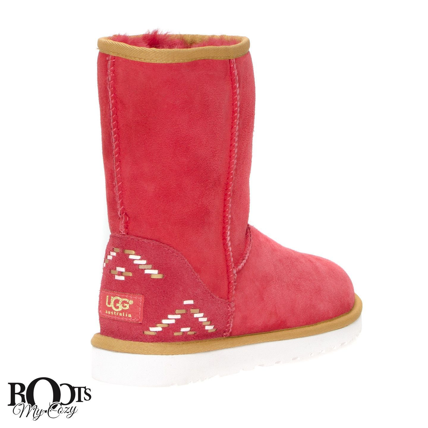UGG CLASSIC SHORT RUSTIC WEAVE SCARLET BOOTS - WOMEN'S