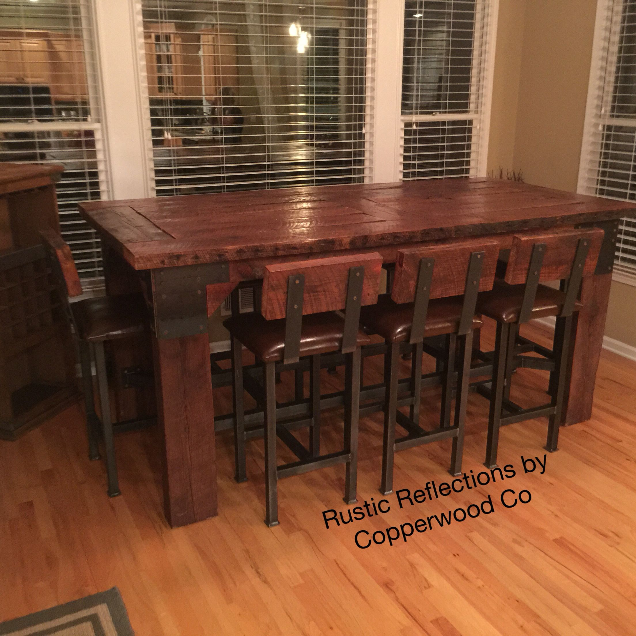 Charmant Custom Built Pub Table And Bar Stools. Wood Was Reclaimed Out Of A Locale  Mill In Rome, Ga. This Massive Table Stands 4 Foot Tall, 4 Foot Wide And 8  Foot ...