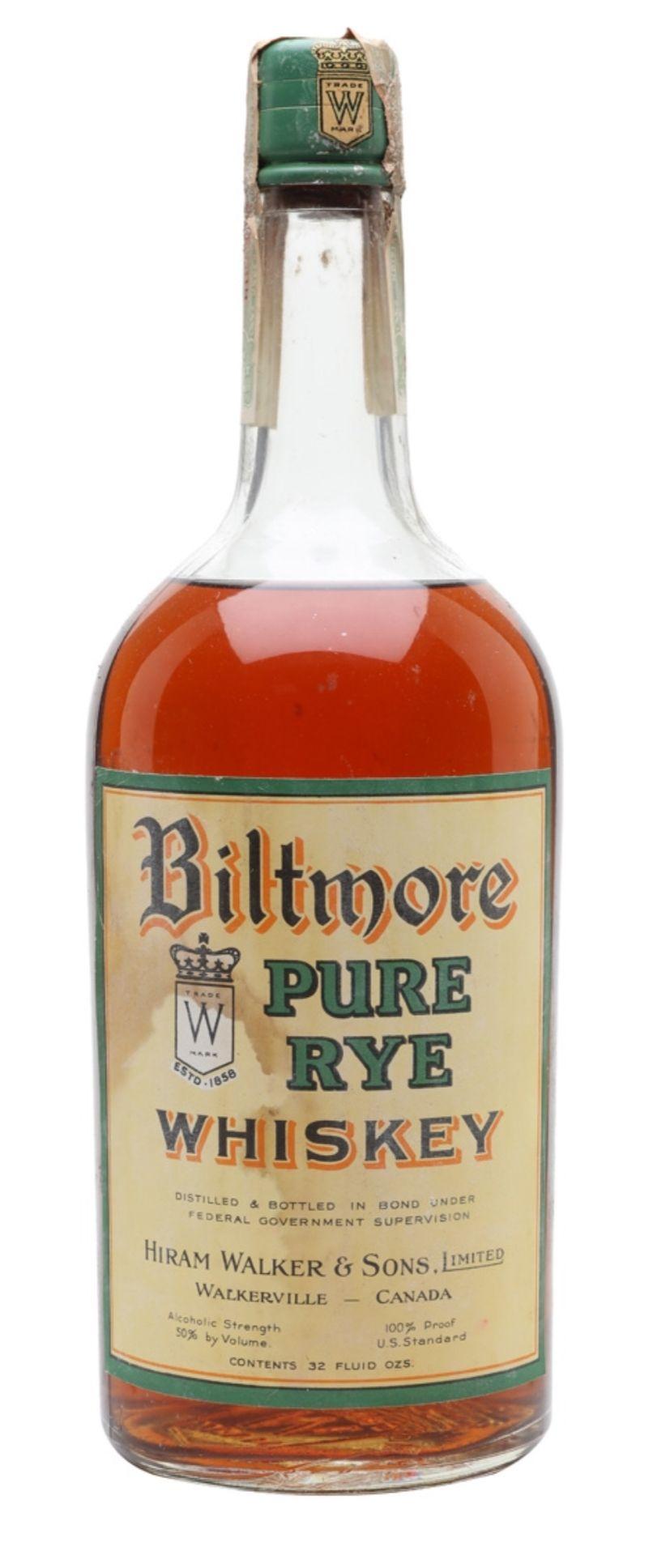 Biltmore Pure Rye Whiskey Bot 1920s Hiram Walker Canada Whiskey Brandy Bottle Liquor Bottles