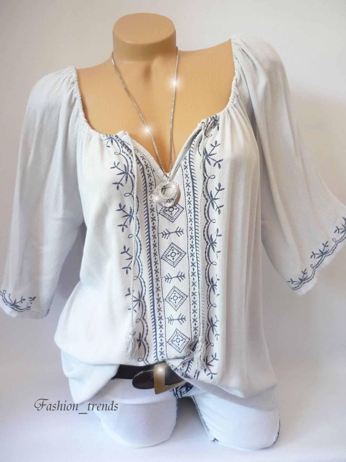 396ea0fd7a94d5 Italy Damen Carmen Tunika Top Shirt Bluse mit Bommel Grau Blau M L XL-38 40  42…