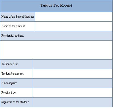 Tuition Fee Receipt Template Editable Docs Receipt Template Tuition Fees Tuition