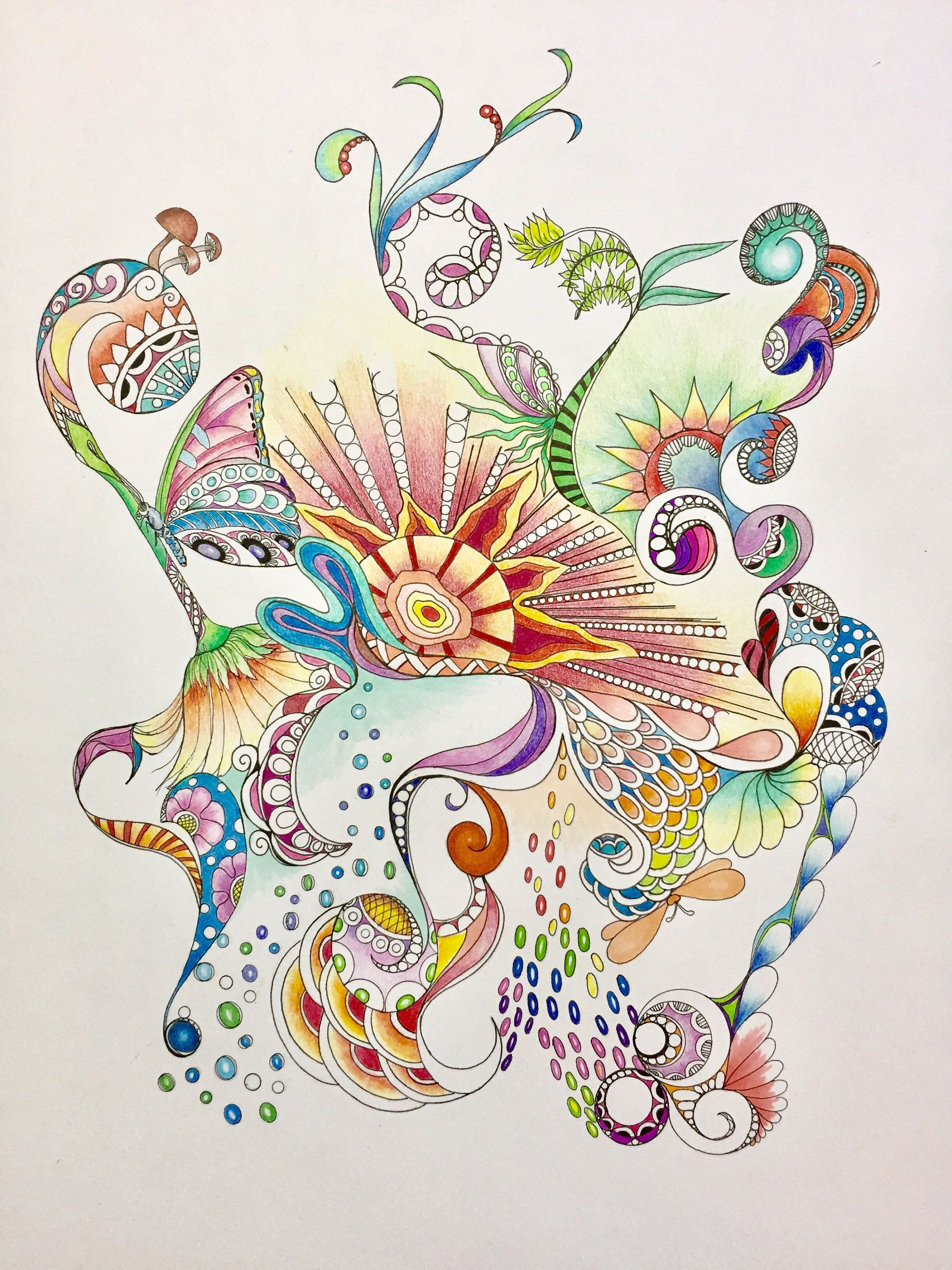 Zentangle Abstract Abstract Art Colored Zentangle Colored Abstract Zentangle Art Ink Colored Penci Colorful Abstract Art Zentangle Art Abstract Pencil Drawings