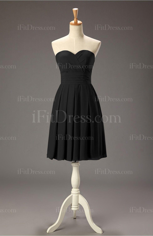 Black Simple A-line Sweetheart Chiffon Knee Length Cocktail Dresses - iFitDress.com