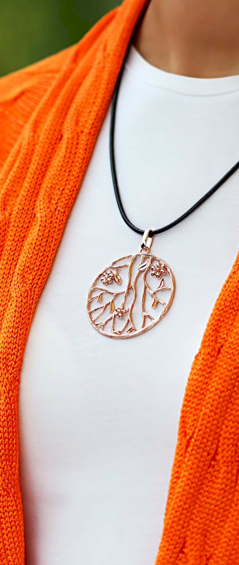 Sterling Silver Gold Plated Pendant Prunus Sinensis Round
