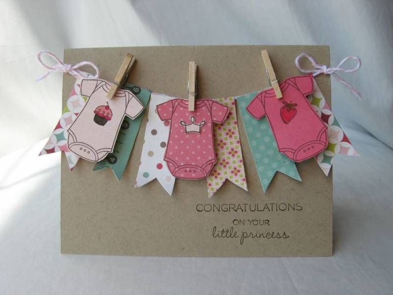 Banners and onsies cards handmade baby girl cards card