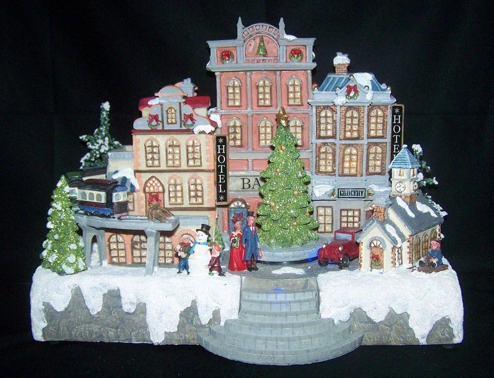 Christmas Village Timeless Moments Fiber Optic LED Rotating Tree ...