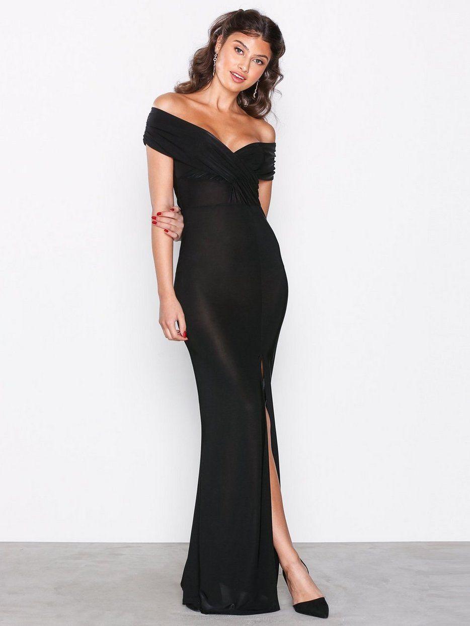 d229e523aad4 Slinky Bardot Wrap Front Split Maxi Dress