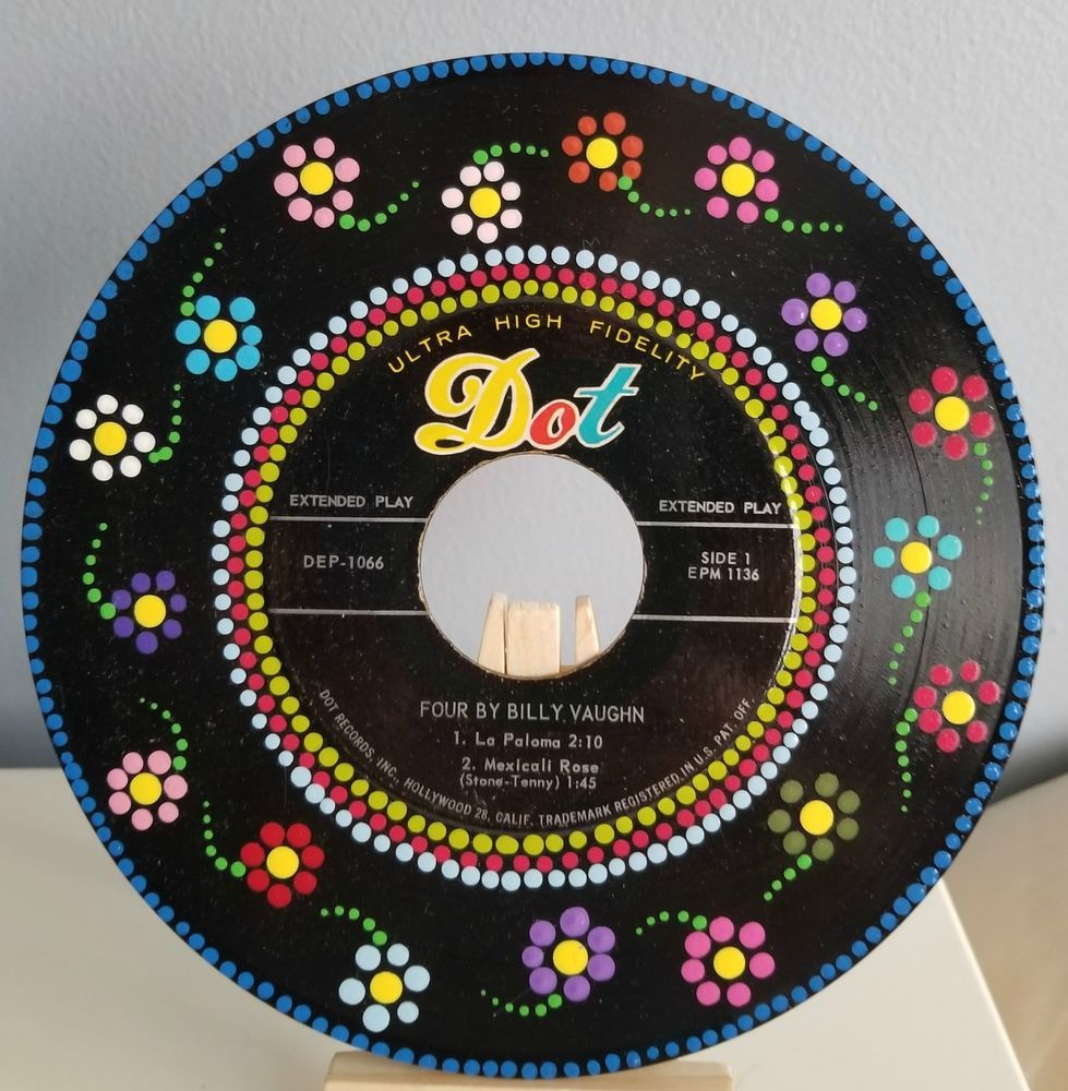 Hand Painted Vinyl Record Dot Painting Mandala Upcycle Recycle