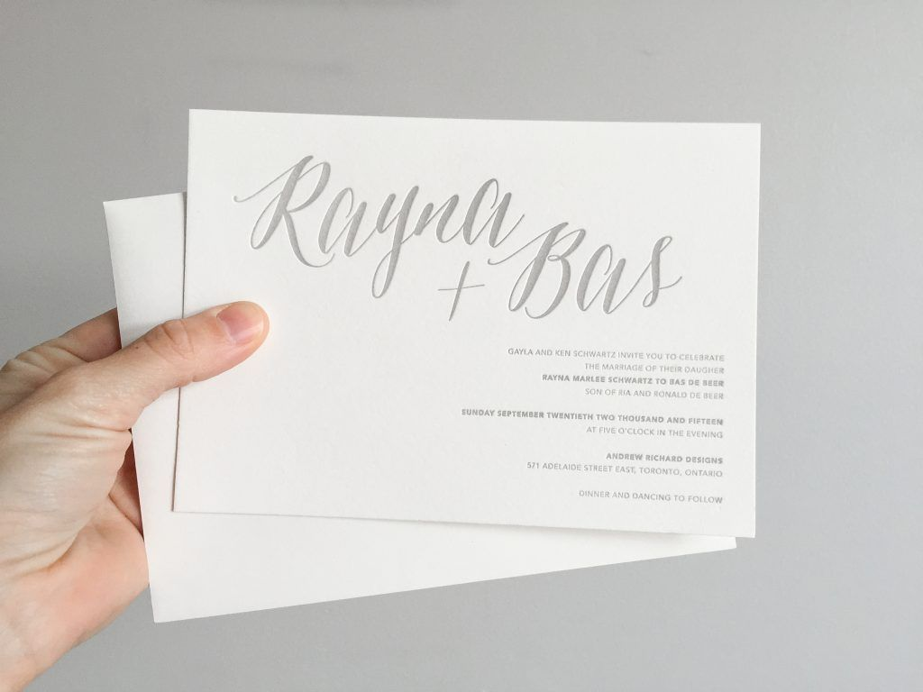 Rayna & Bas\' custom designed letterpress wedding invitations by ...