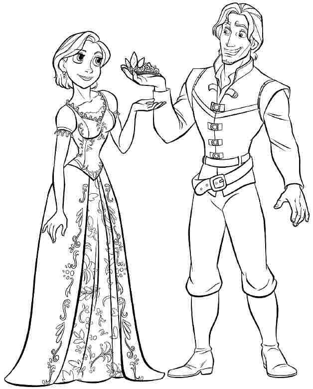 Colouring Sheets Disney Princess Tangled Rapunzel Printable Free For Little Kids