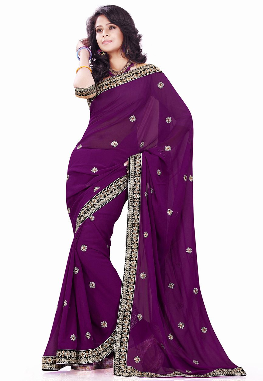 Purple Faux Georgette Saree with Blouse: SBH819 | Wedding | Pinterest