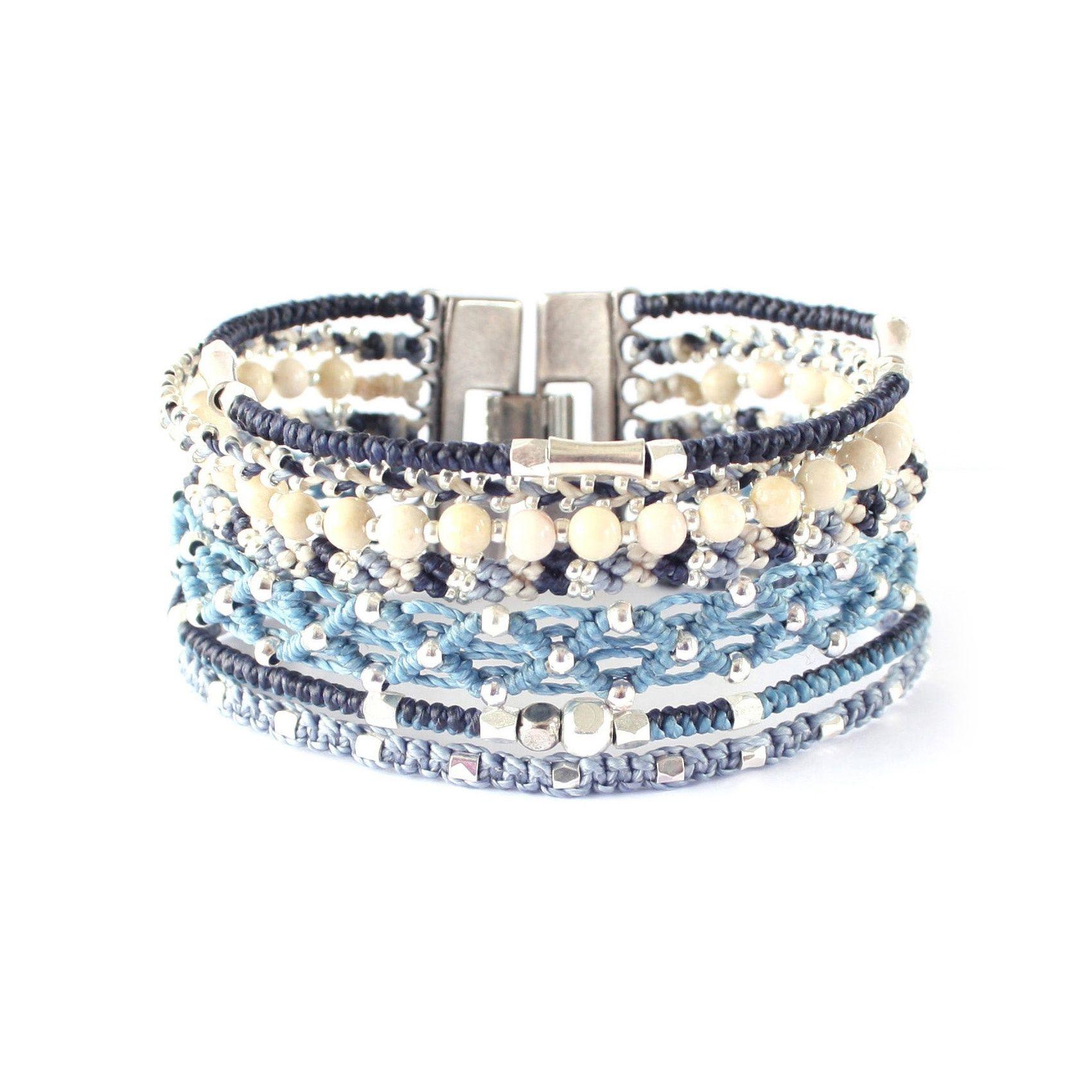 Wakami All One Cuff - armband - blått/silver - fairtrade - Masomenos