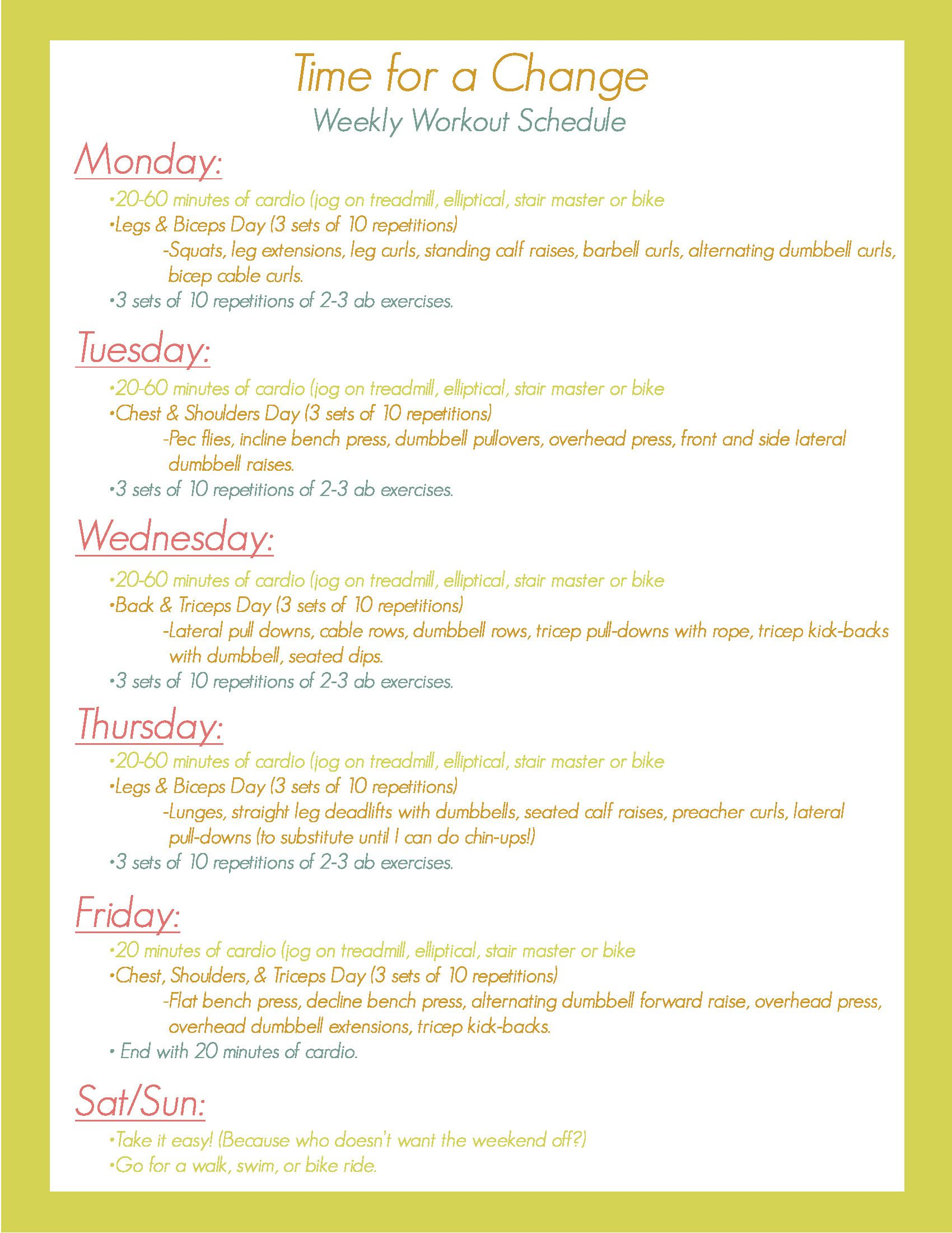 5-Day Toning Workout Routine picture