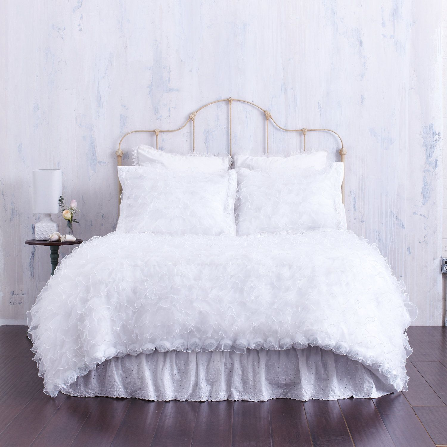 Shabby Chic Bedding Created with Pure White by CloudHunterCo $