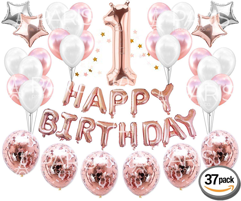 Amazon 1st BIRTHDAY GIRL DECORATIONS 37 Piece Set