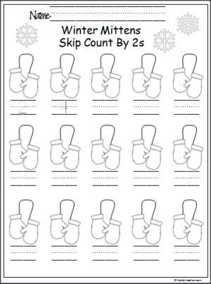 Winter Mitten Skip Counting By 2s Madebyteachers Counting In 2s Kindergarten Math Worksheets Free Mitten Counting by twos worksheet kindergarten