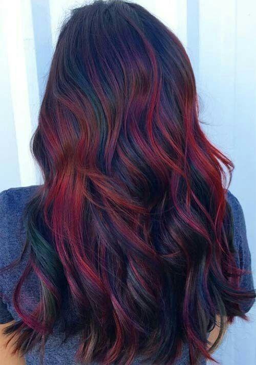 Red Ombre Hair Mixed With A Little Oil Slick Hair Color Auburn Hair Shades Hair Color Burgundy