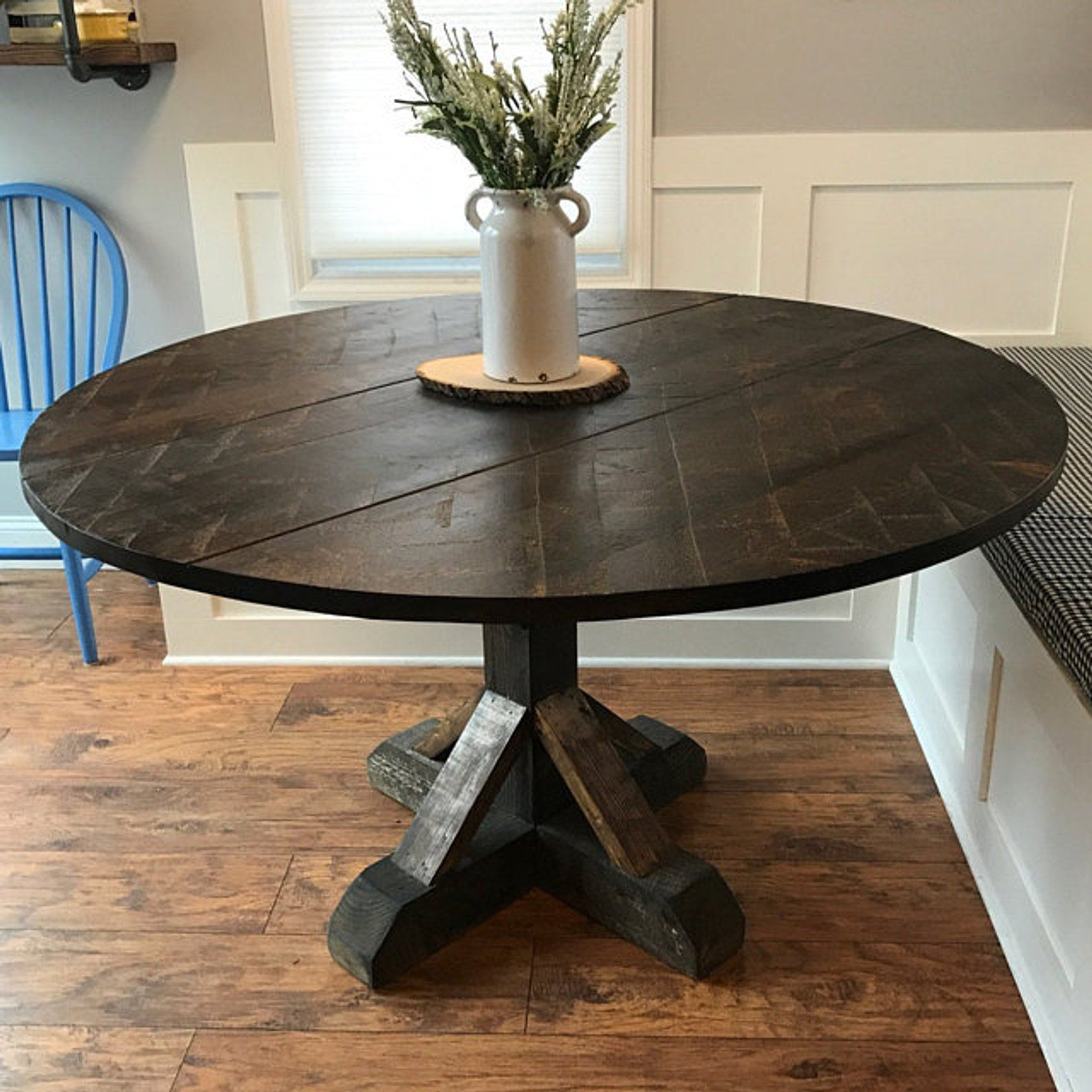Rustic Round Pedestal Base Table Size Style Example Round Kitchen Table Pedestal Table Base Rustic Country Furniture