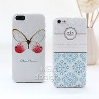 Fashion Butterfly and Crown Case Cover For iPhone 5