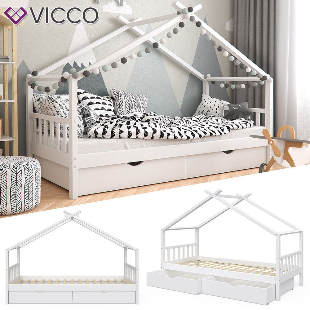 Vitalispa Kinderbett Design Hausbett Schubladen Und Lattenrost In Weiss 90x200 Ebay Kinderbett Design Kinder Bett Haus Kinderbett