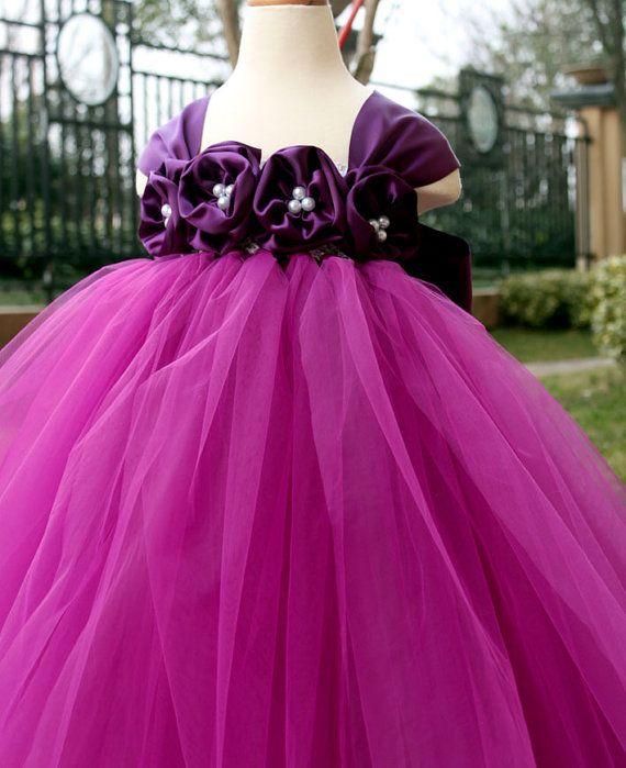 Flower Girl Dress Purple Plum tutu dress baby dress toddler birthday dress wedding dress 1T 2T 3T 4T 5T 6T 7T 8T