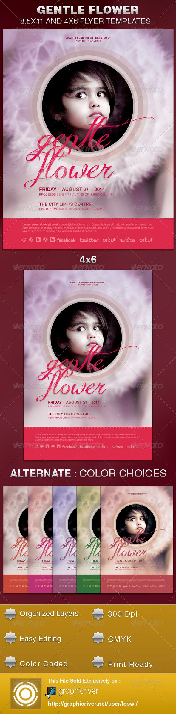 the gentle flower church flyer template is sold exclusively on graphicriver it can be used for your church events gospel concert etc or for any other