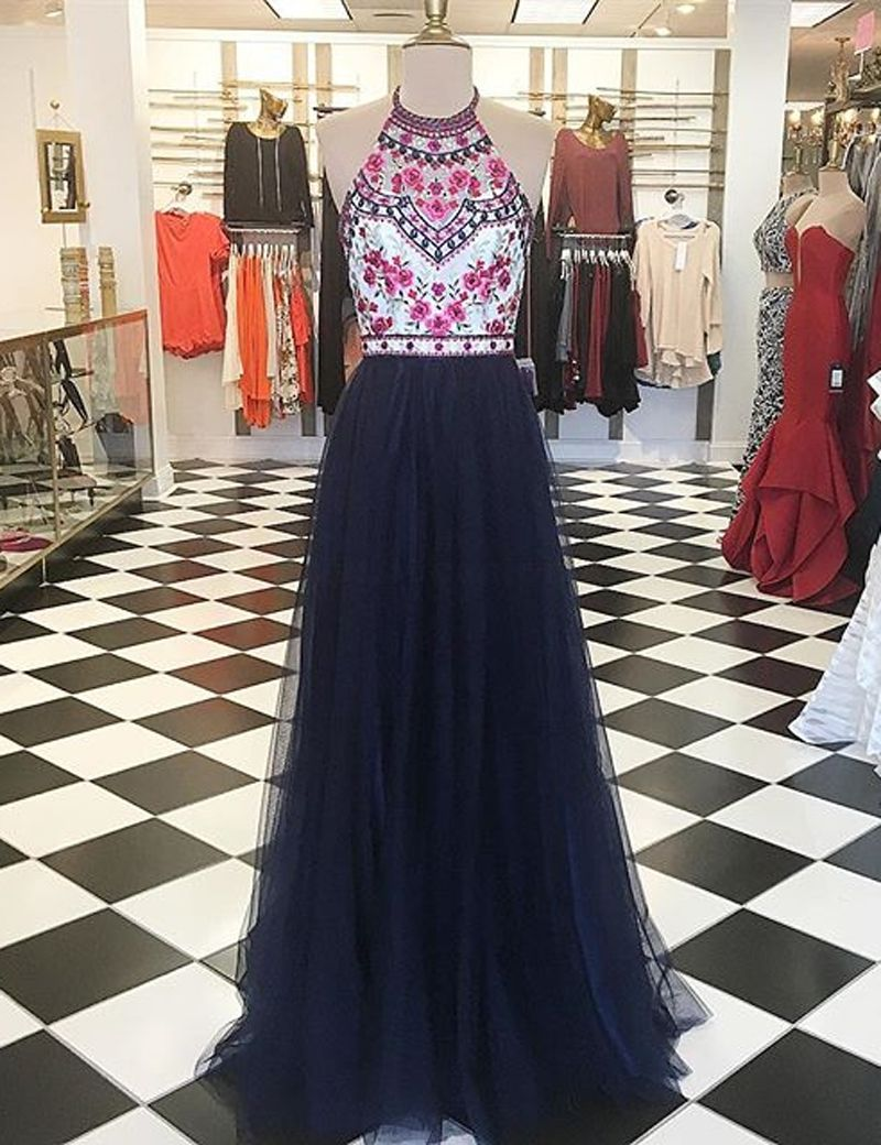 Navy blue aline halter floorlength prom dress with embroidery