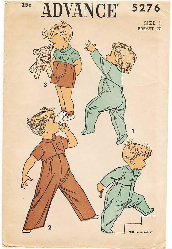 Vintage Pattern Advance 5276 Boy' Pajama or Shirt by laprairielady, $6.00 (Wouldn't this make extraordinarily cute wall art?)