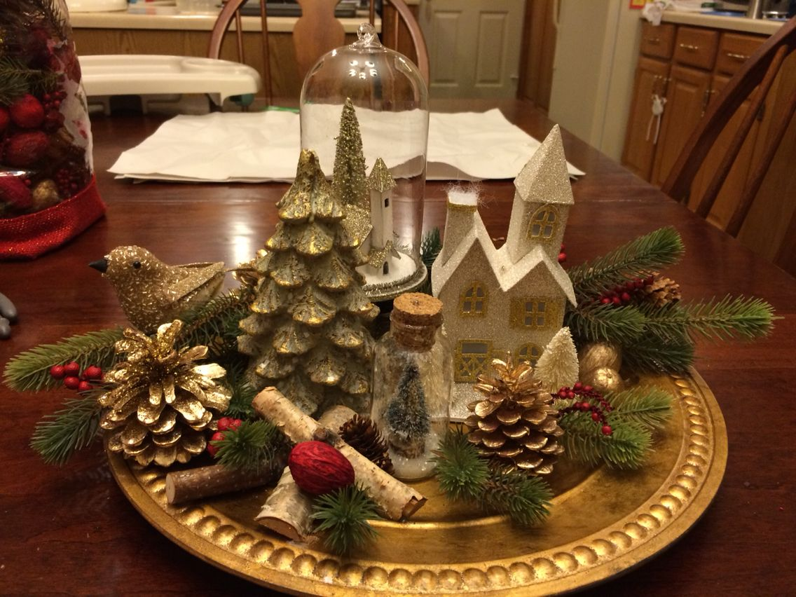 Christmas Centerpiece Made From Charger Plate And Ornaments