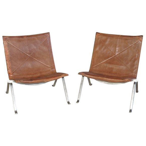 1stdibs | Pair of PK22 Leather and Stainless Steel Chairs, 1950's