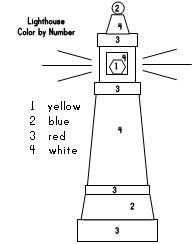 lighthouse coloring page color by number