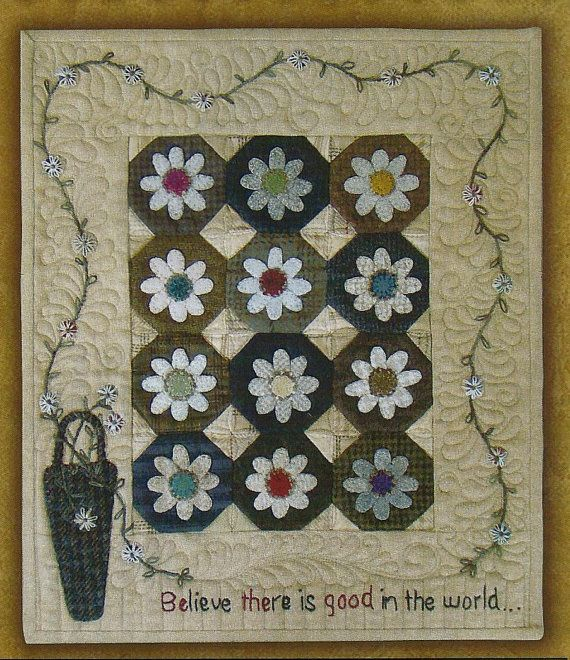 Primitive Folk Art Wool Applique Pattern: BE THE GOOD (Mini Quilt ... : quilting with wool - Adamdwight.com