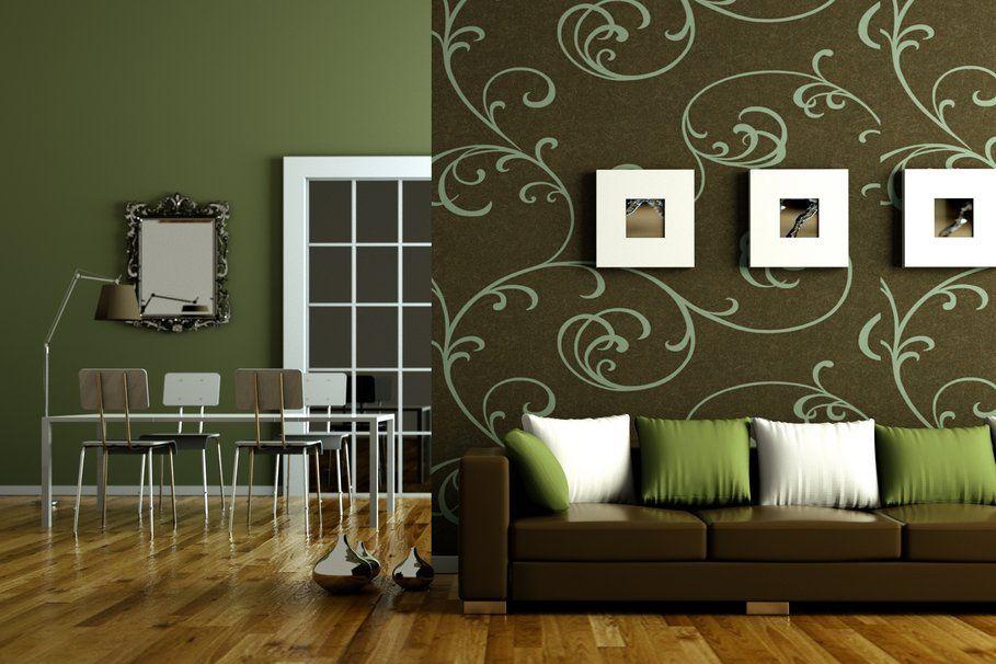 Interieur design, style, groen, bruin, flat, woonkamer, Bank, kussens, tabel, stoelen wallpaper