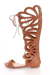 Details about Women Cut Out Gladiator Sandals Flat Knee Boots Strappy Size